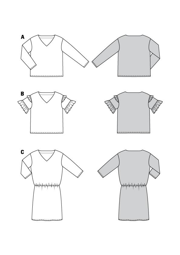 Blusen und Kleid mit tiefem V-Ausschnitt #6155