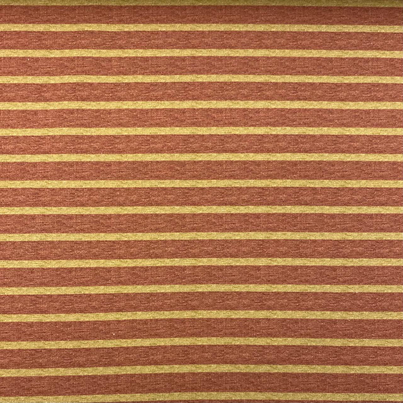 Sweat French Terry, angeraut, Streifen dunkelrosa/curry.  Art. 4982.1718