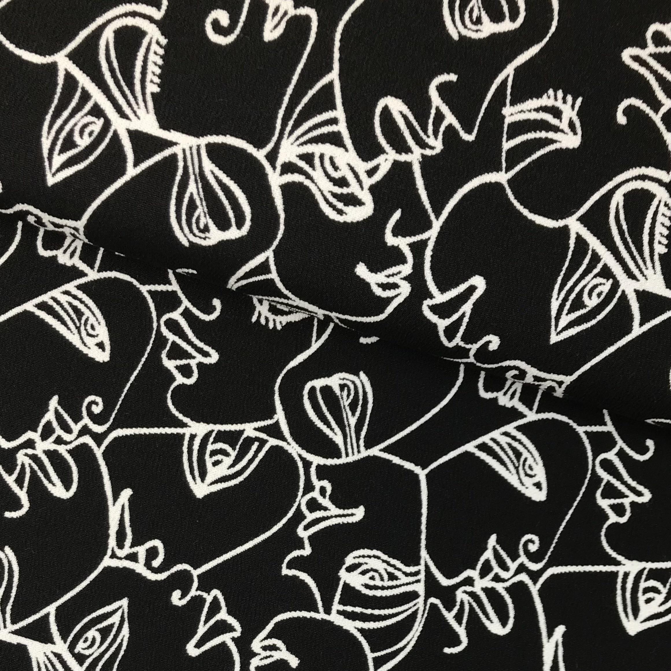 "Jacquard Doubleface ""Maskenball"" in schwarz/weiß. Art. SW11208"