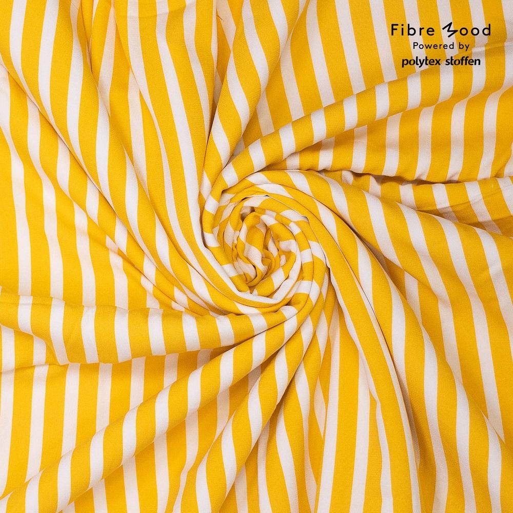 Fibre Mood #Aila, Viskose Crepe, weiß/gelb. Art. FM873001