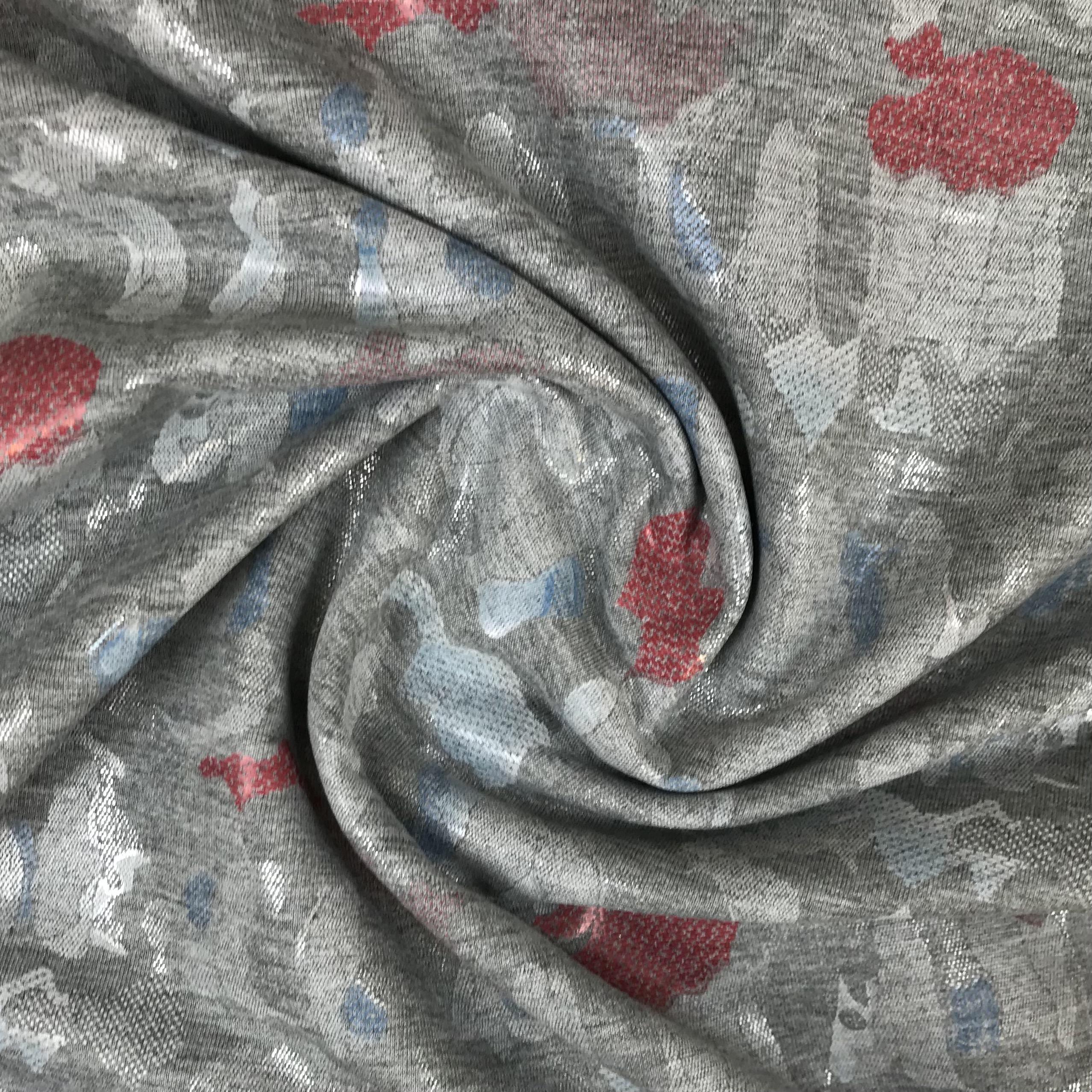 Jacquard Jersey, grau/rot.  Art. SW11265