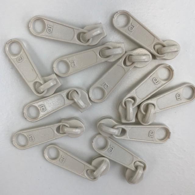 Zipper Schieber für Endlosreißverschluss 3 mm Union Knopf, creme. Art. 4511-14