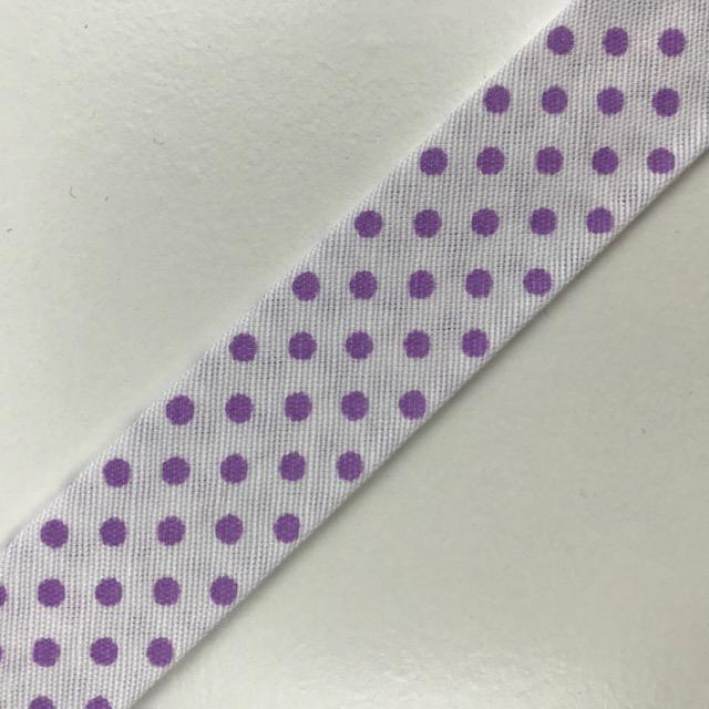 Baumwollpopeline - Schrägband, Punkte, weiß/lila. Art. SW11674