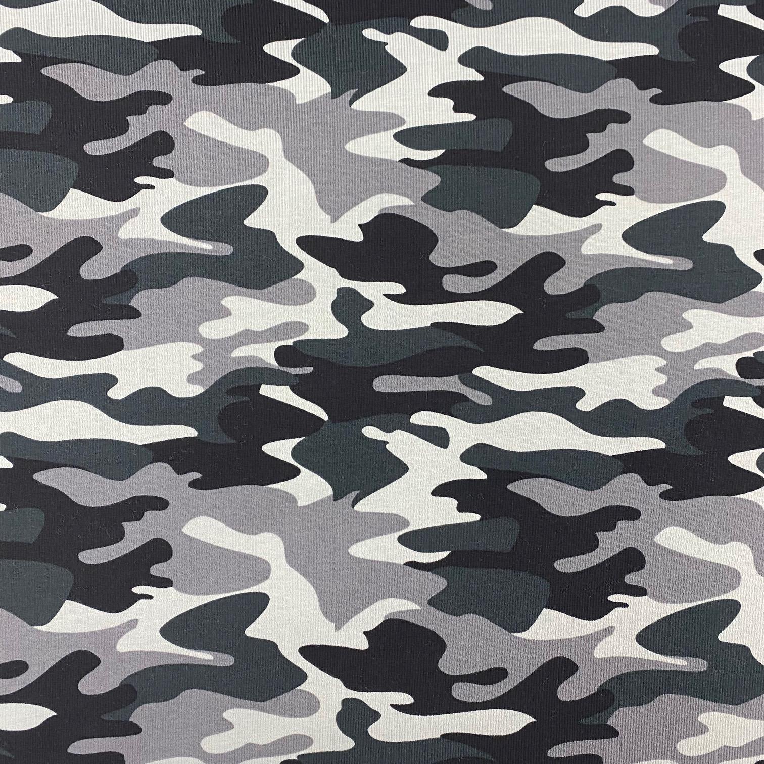 Sweat French Terry, angeraut, Camouflage dunkelgrün/grau.  Art. 4979-1701