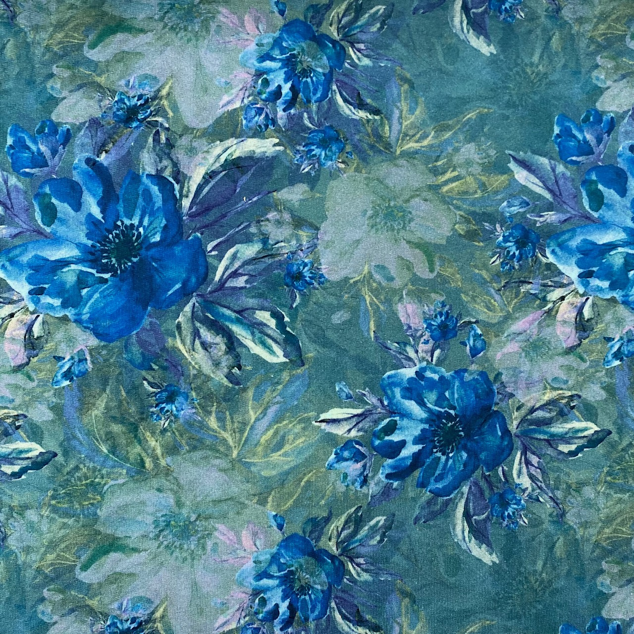 Sommersweat French Terry, Aquarell, blau. Art. 4987-126