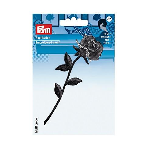 Applikation Rose mit Stiel schwarz, Prym. Art. 926354