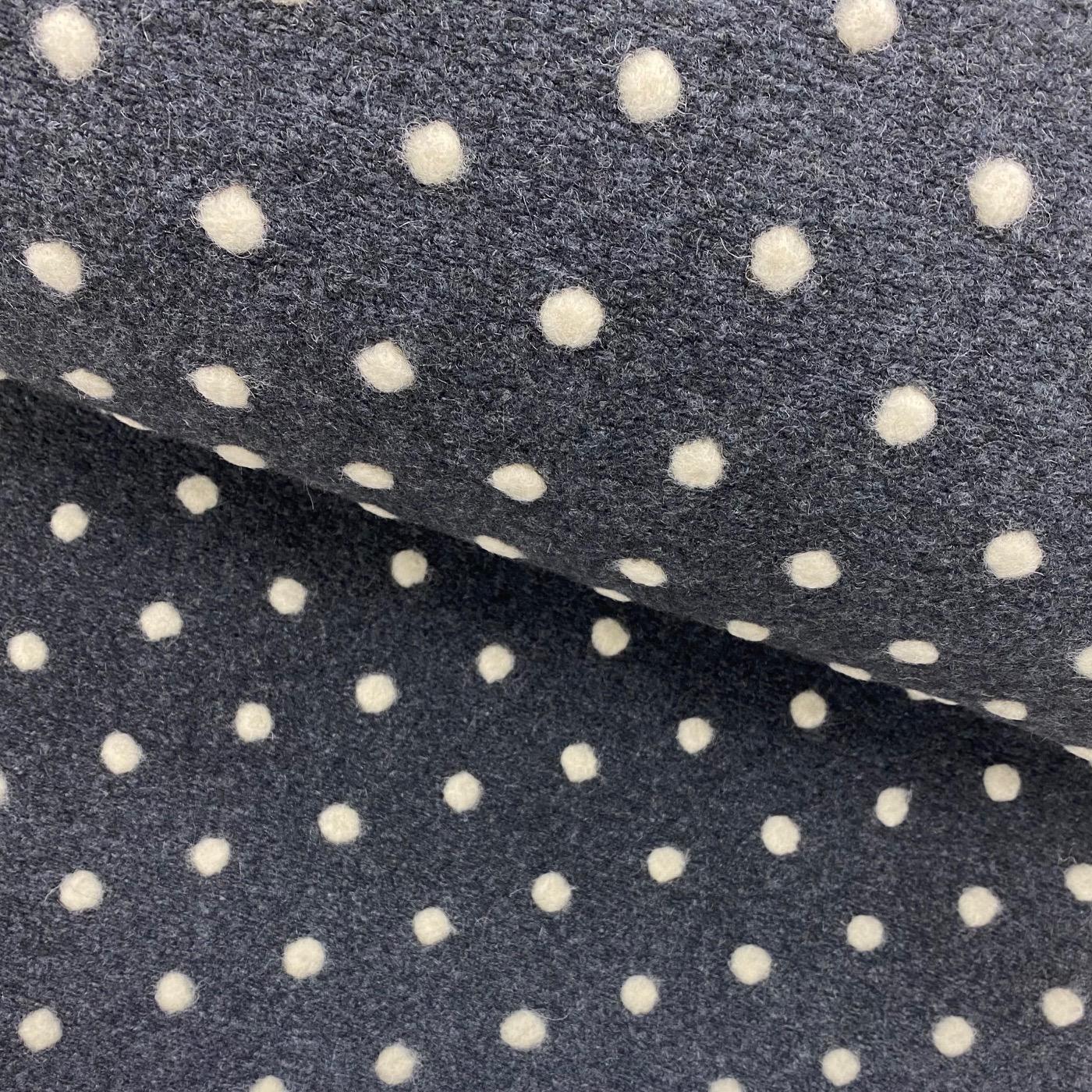 Walkloden Strick, Punkte, grau/creme.  Art. 5012-769
