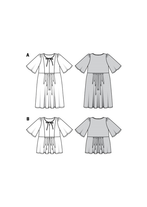 Knielanges Kleid und Tunika. Burda #6129