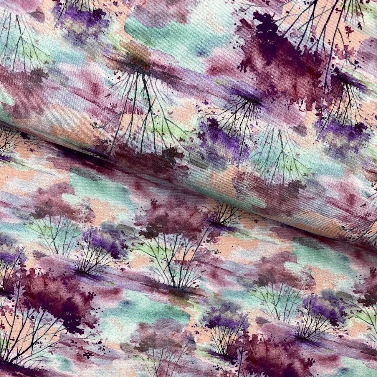 Viskosenjersey, Digital Druck, Bäume, rosa/lila.  Art. 4865/1413