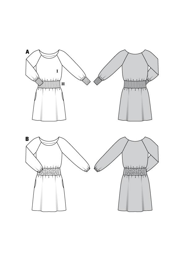 Kleider mit gesmokter Taille #6190