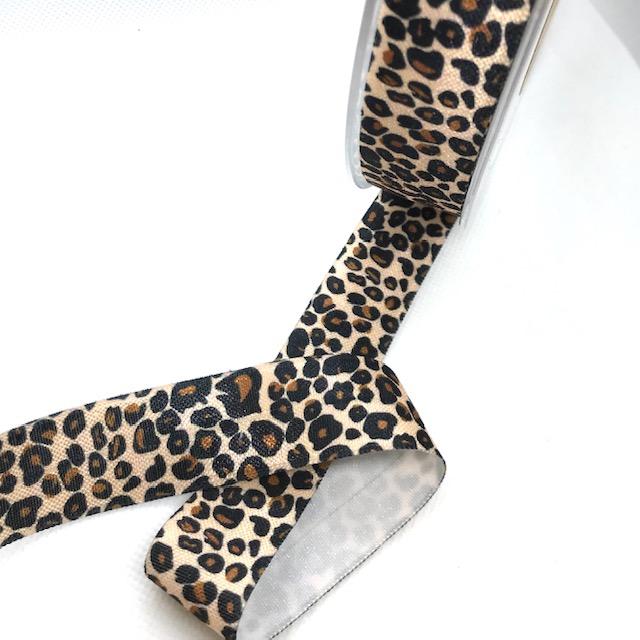 Elastisches Einfassband (Falzgummi), 2,5 cm, Leopard. Art. 103-025