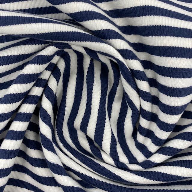 Baumwolljersey, Streifen, dunkelblau. Art. 4555-8