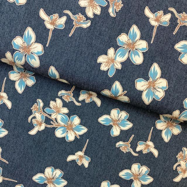 Jeansstoff bedruckt Floral von Toptex, blau. Art. 5670-03