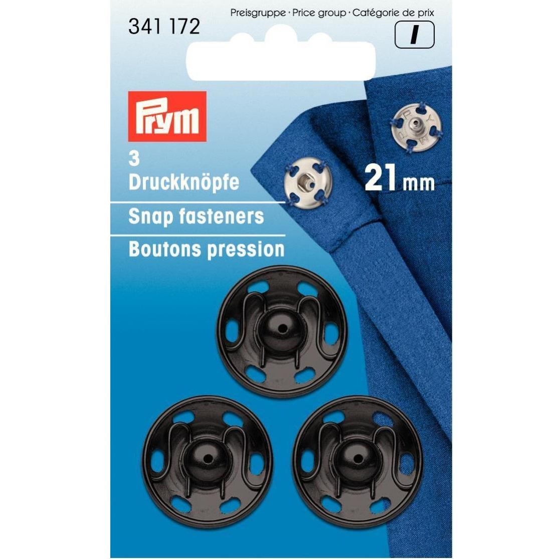 Druckknöpfe, schwarz, 3 Stück, 21 mm, Prym - Art. 341172