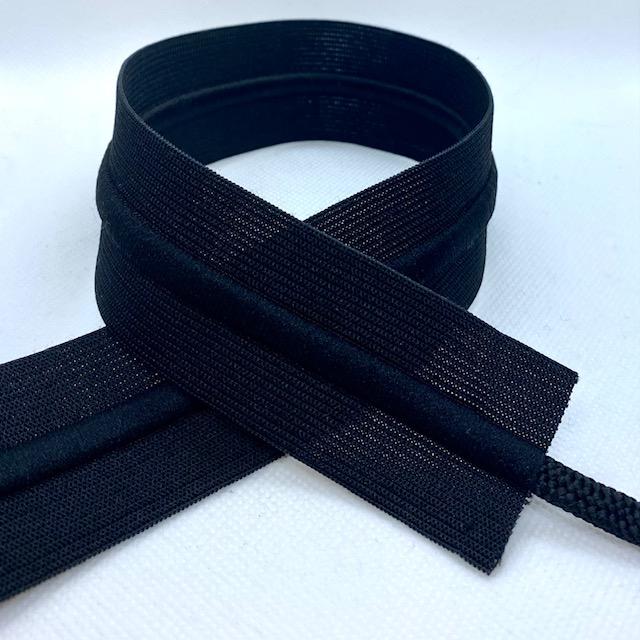 Gummiband 40mm, mit Kordel schwarz. Art. 691038-80
