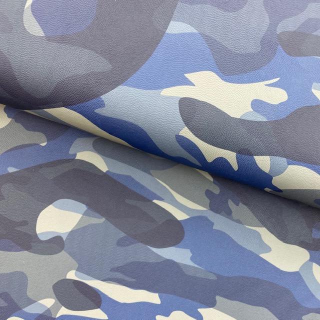 Lederimitat - Camouflage, dunkelblau. Art. 11089-008