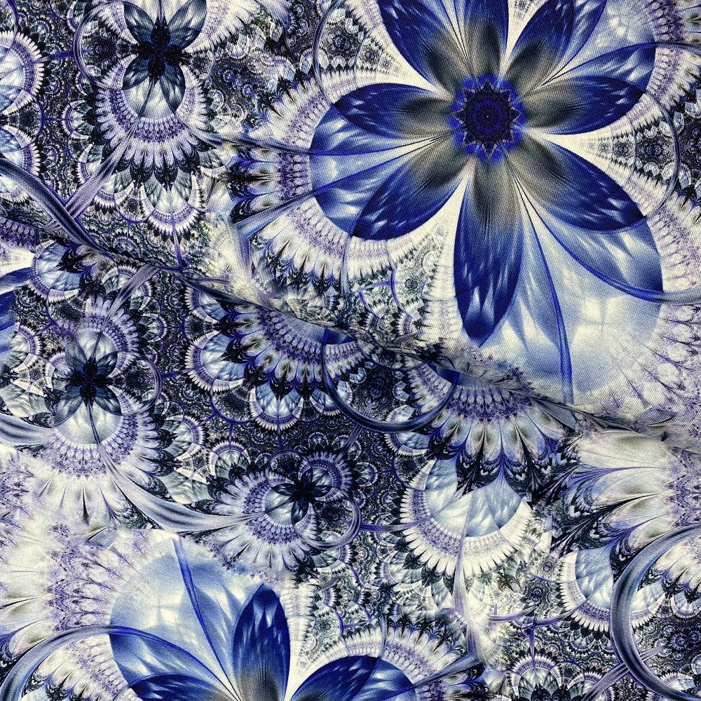 Viskosenjersey, Digital Druck, blau. KC7604-037