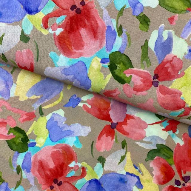Viskose Stoff, Blumen, beige. Art. 922188