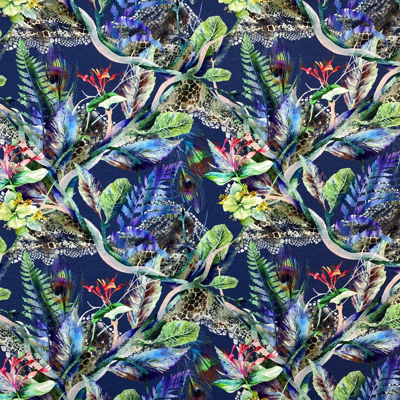 Viskosenjersey, Digital Druck, Tropenfeder, dunkles jeansblau.  Art. 4870/1107