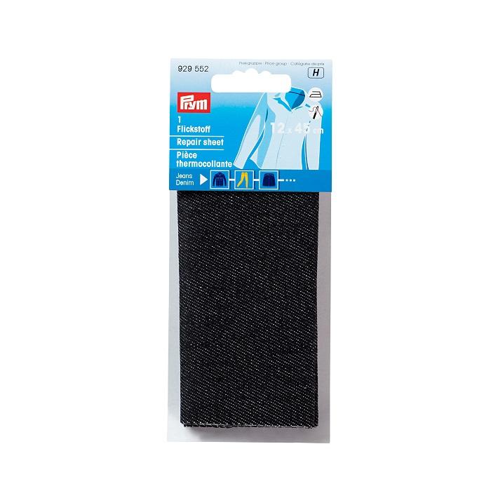Flickstoff Jeans, aufbügelbar, 12 x 45cm, schwarz. Art. 929552