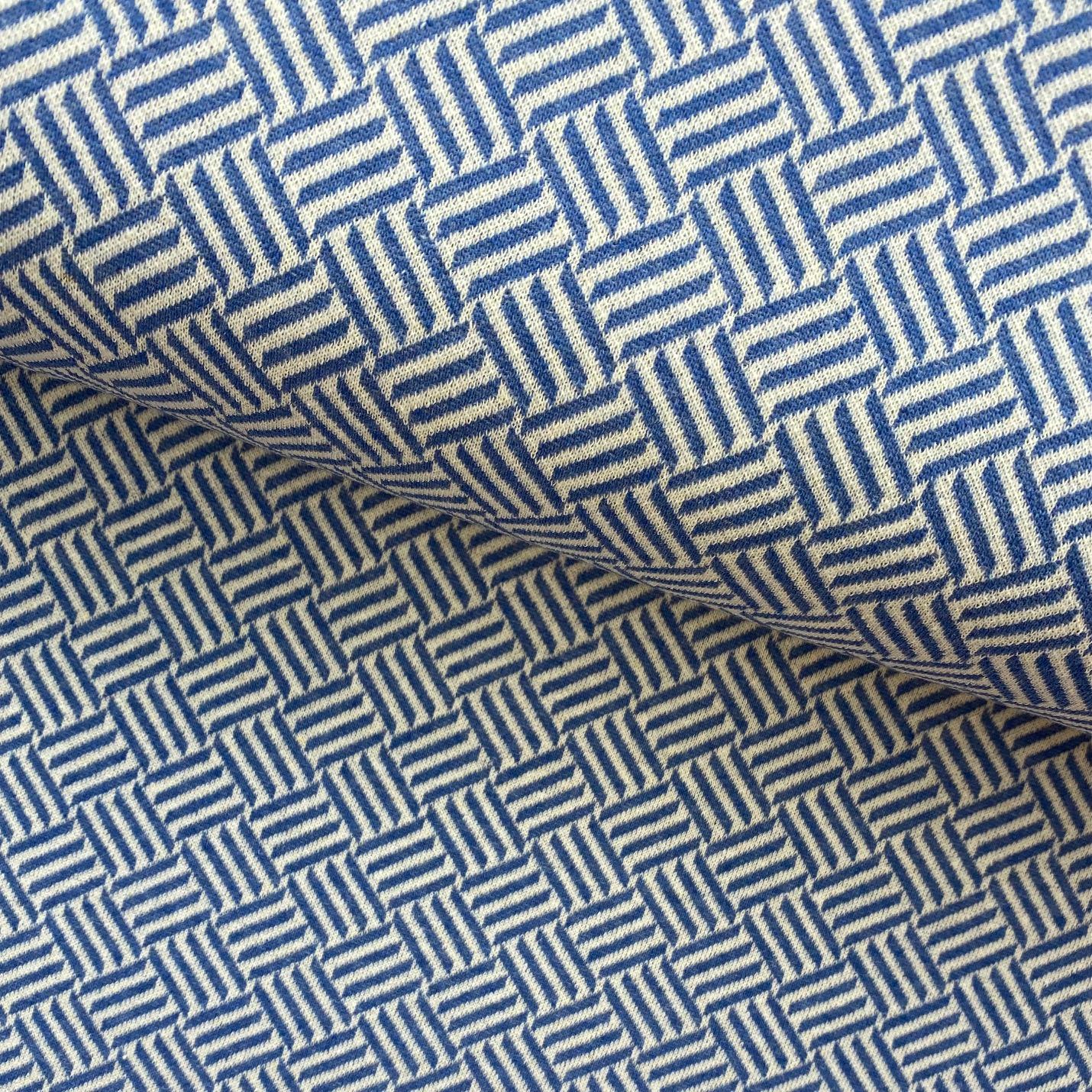 Strick Jacquard aus recycelter Baumwolle, blau. Art. 319016.42