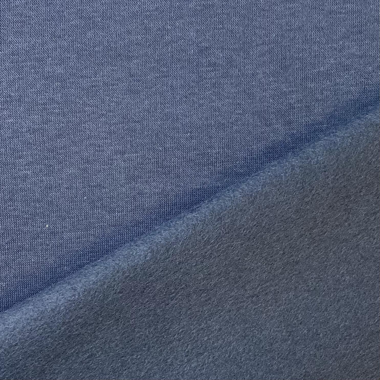 Soft French Terry/Sweatstoff angeraut, dunkelblau, uni. Art. SW10724
