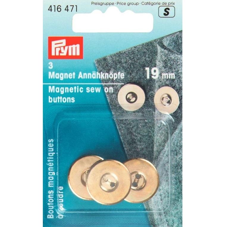 Magnet - Annähknöpfe, goldfarbig, 3 Stück, Prym - Art. 416471