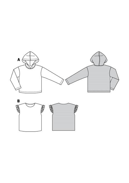 Hoodie und Shirt. Burda #6128
