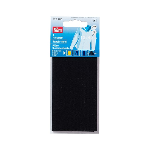 Flickstoff aufbügelbar, 12 x 45cm, schwarz. Art. 929400