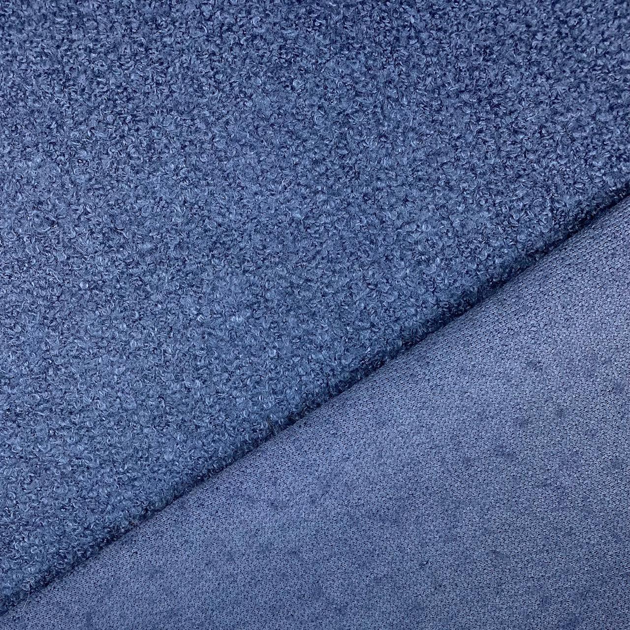 Strick-Bouclé Wollmix, jeansblau. Art. SW11317