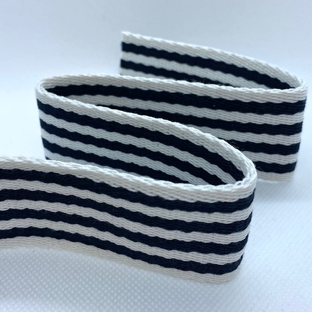 Baumwollgurtband 40 mm, Union Knopf, marine/weiß gestreift. Art. 008-040