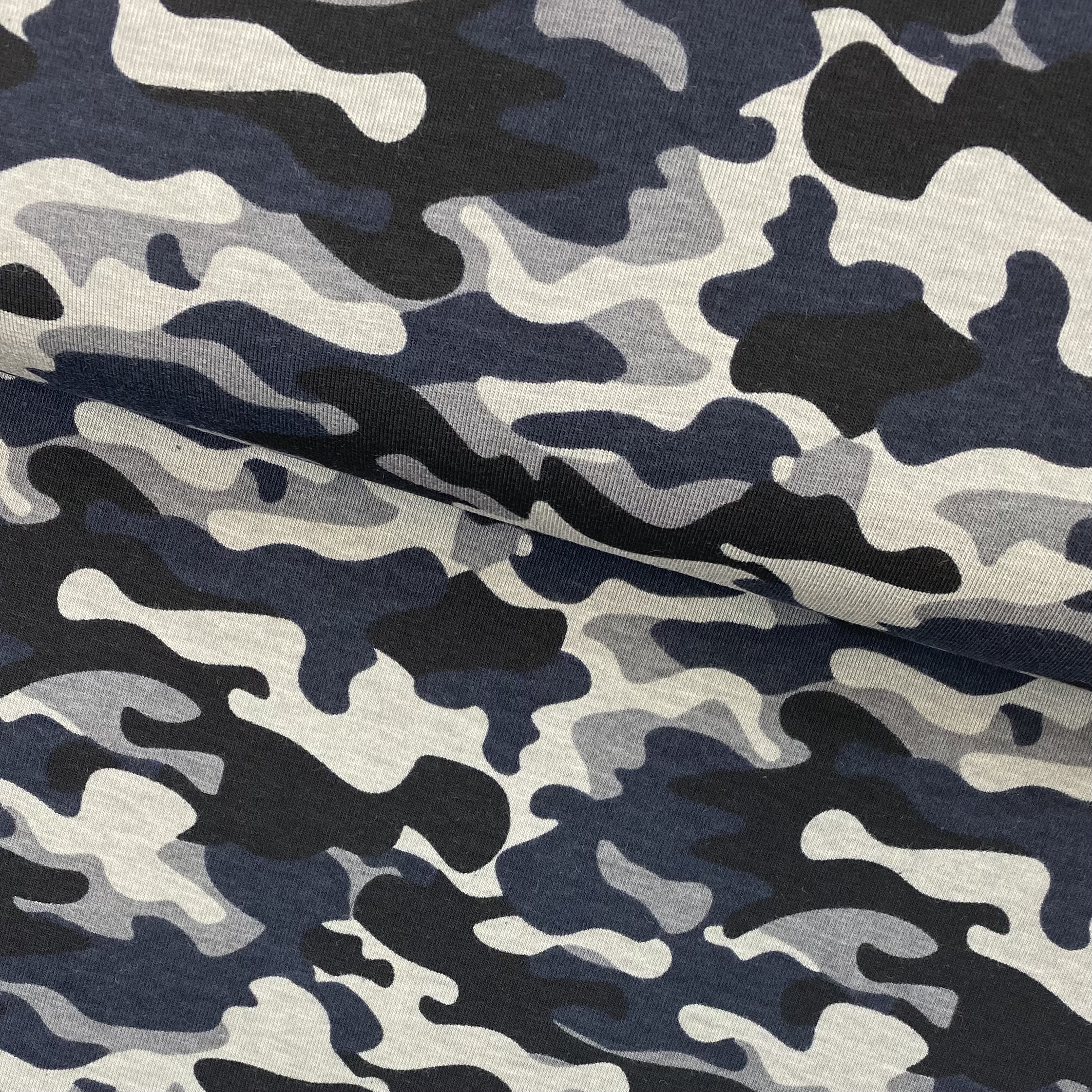 Baumwolljersey, Camouflage dunkelblau, Art. 340084.002