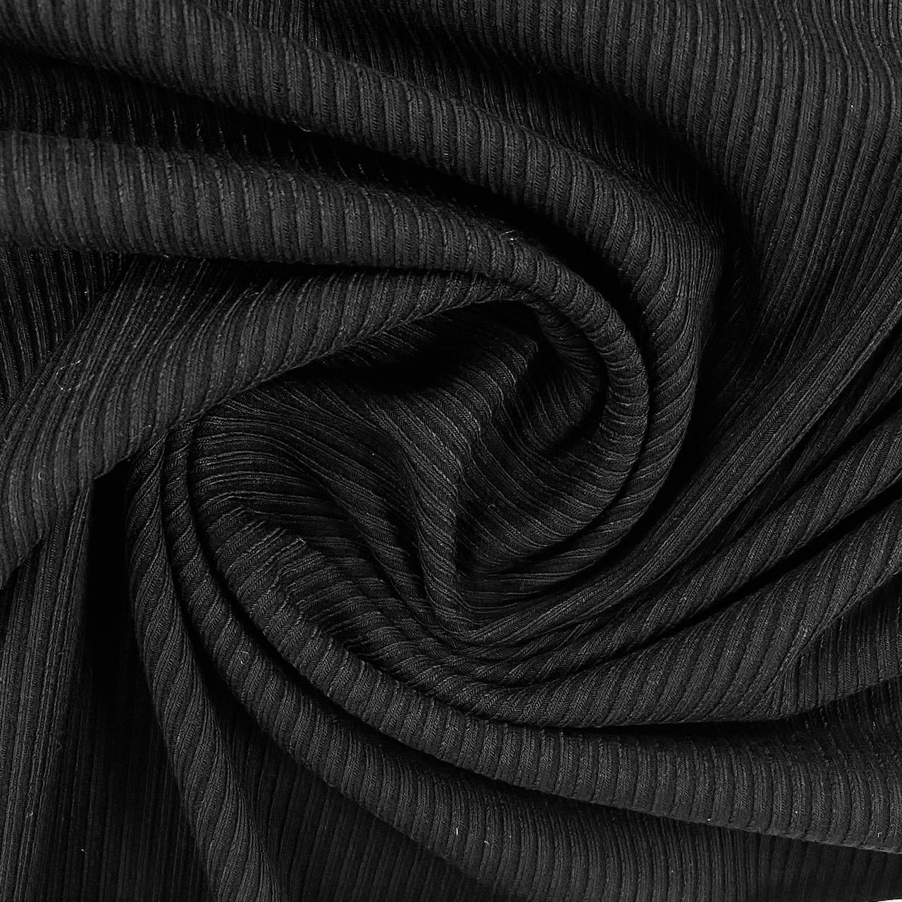 Feiner Rippenstrick Uni, schwarz. Art. 4722.01