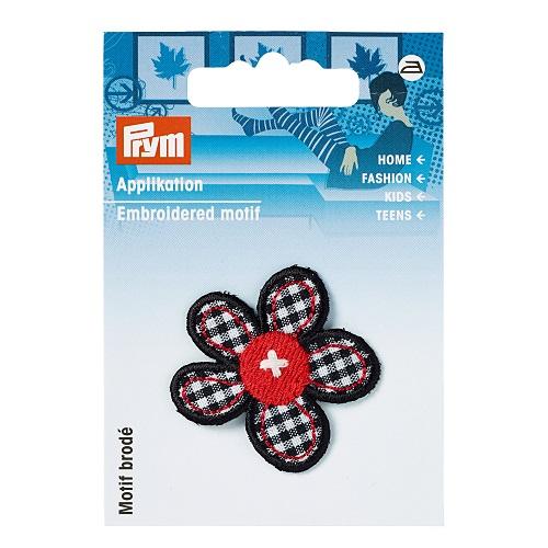 Applikation Blume schwarz/rot/weiss kariert. Art. 924261