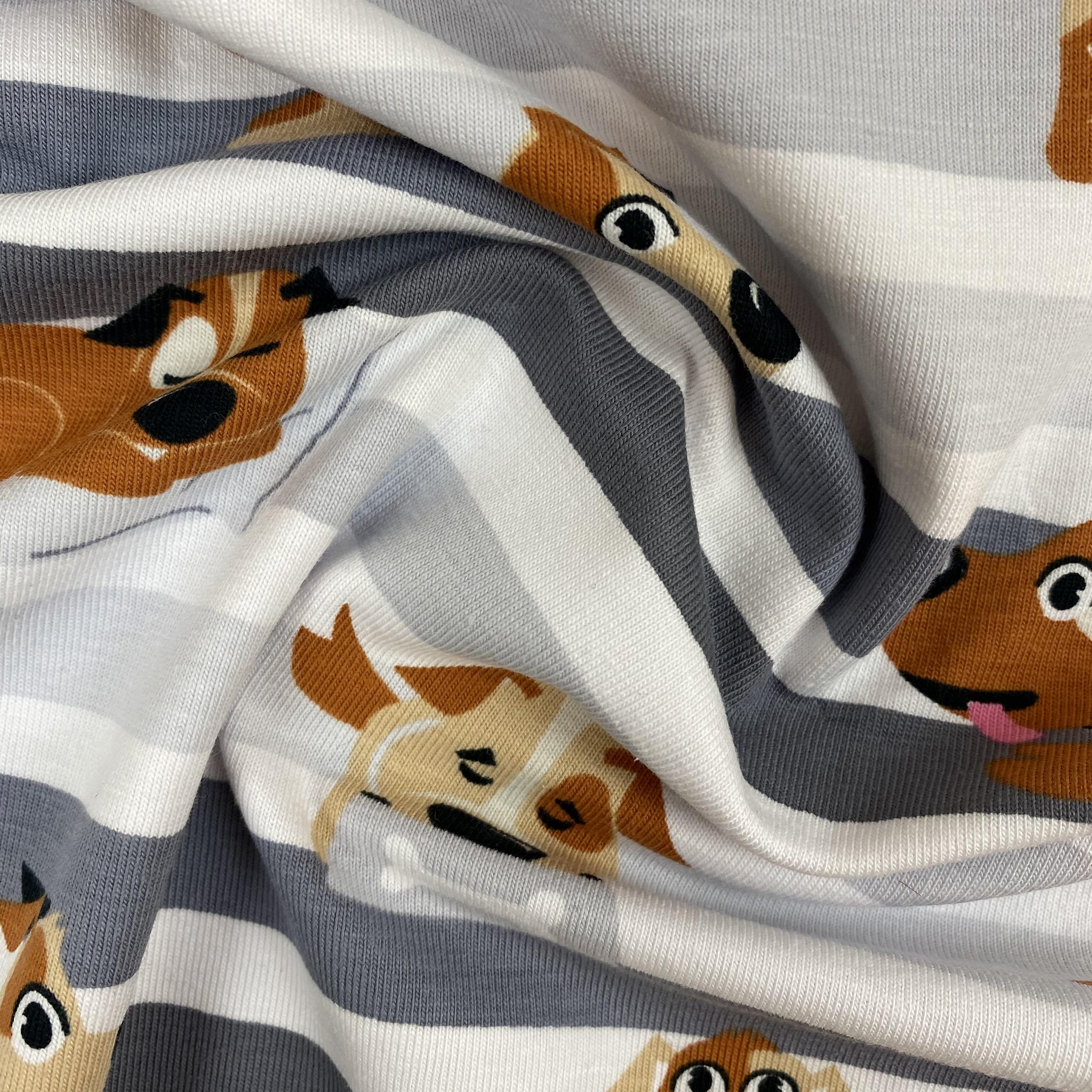 Baumwolljersey, Hunde und Streifen. Art. SW10044