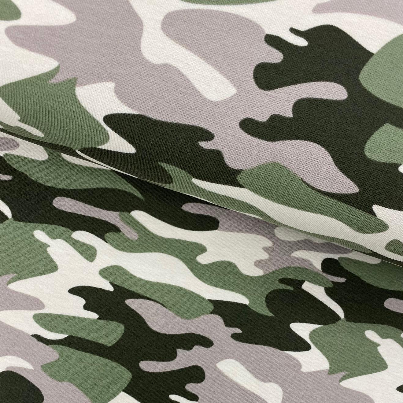 Sweat French Terry, angeraut, Camouflage olivgrün/beige.  Art. 4979-1553