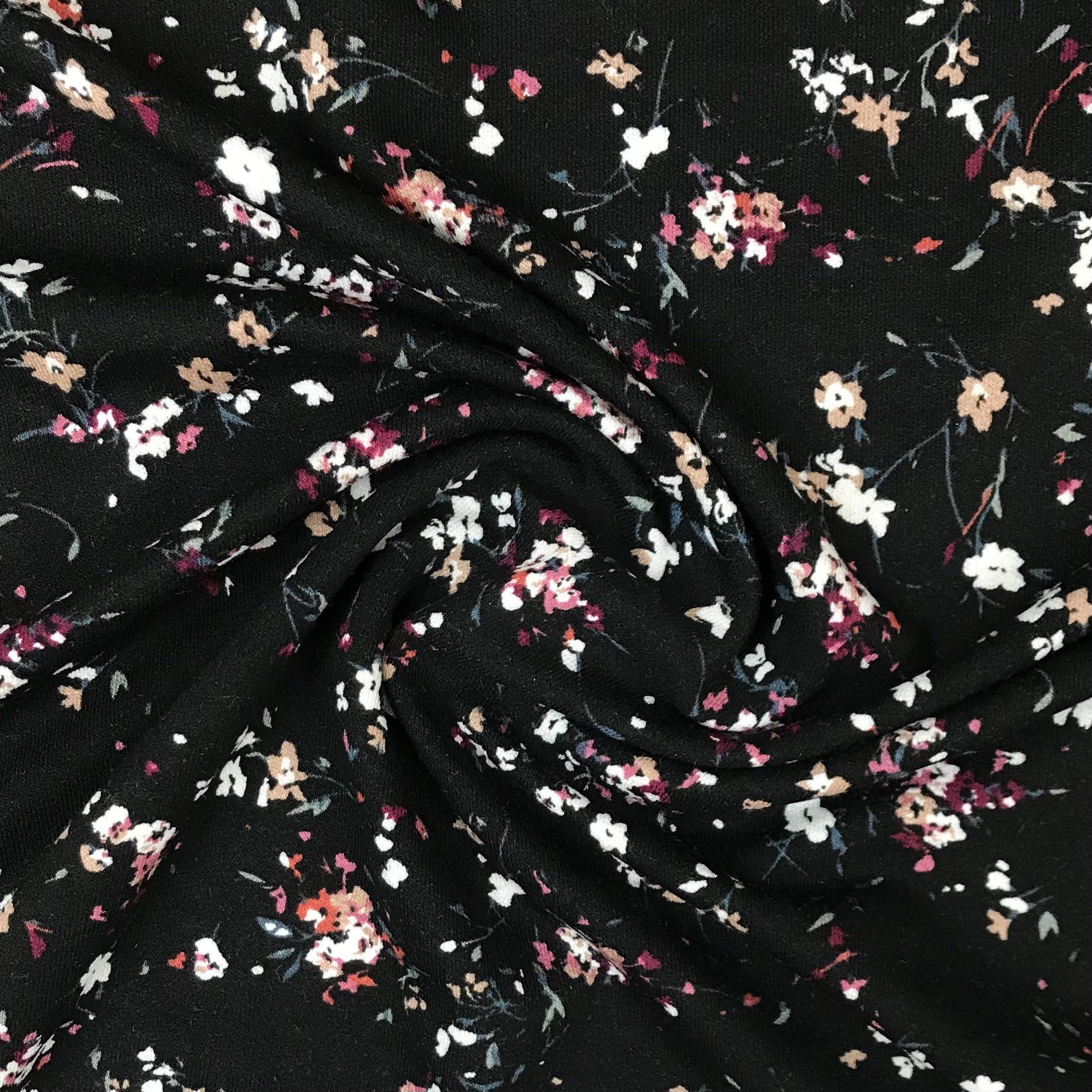 Viskosenjersey Crepe, kleine Blumen. Art. 13384/069