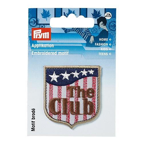 Applikation Label, THE CLUB, grau/braun.  Art. 926009