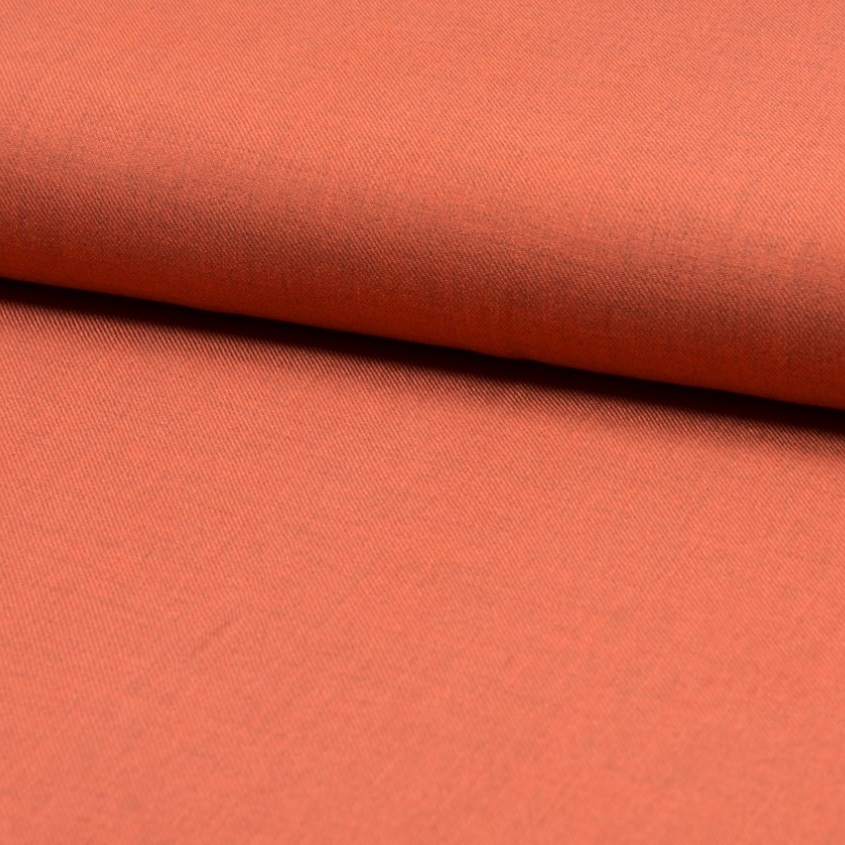 Viskose/Rayon Twill, uni, meliert, nebel orange. Art. Q11377-034