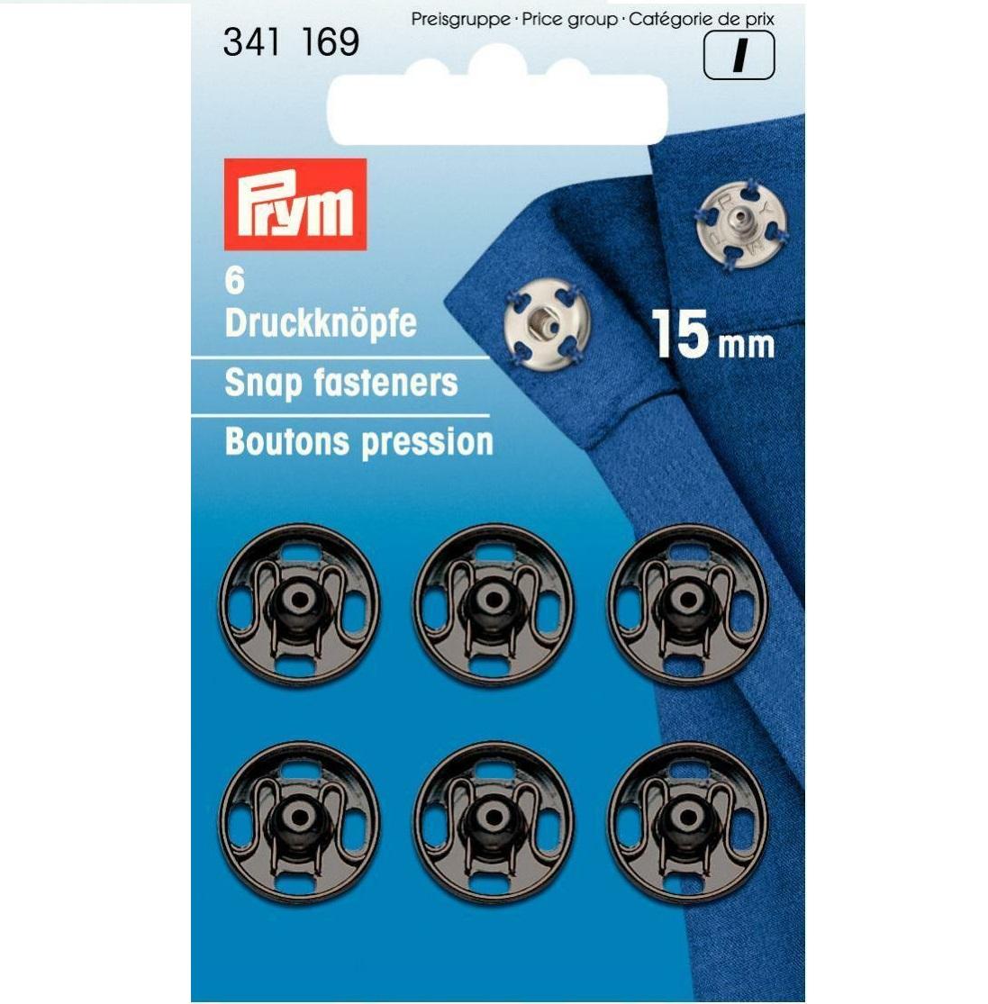 Druckknöpfe, schwarz, 6 Stück, 15 mm, Prym - Art. 341169