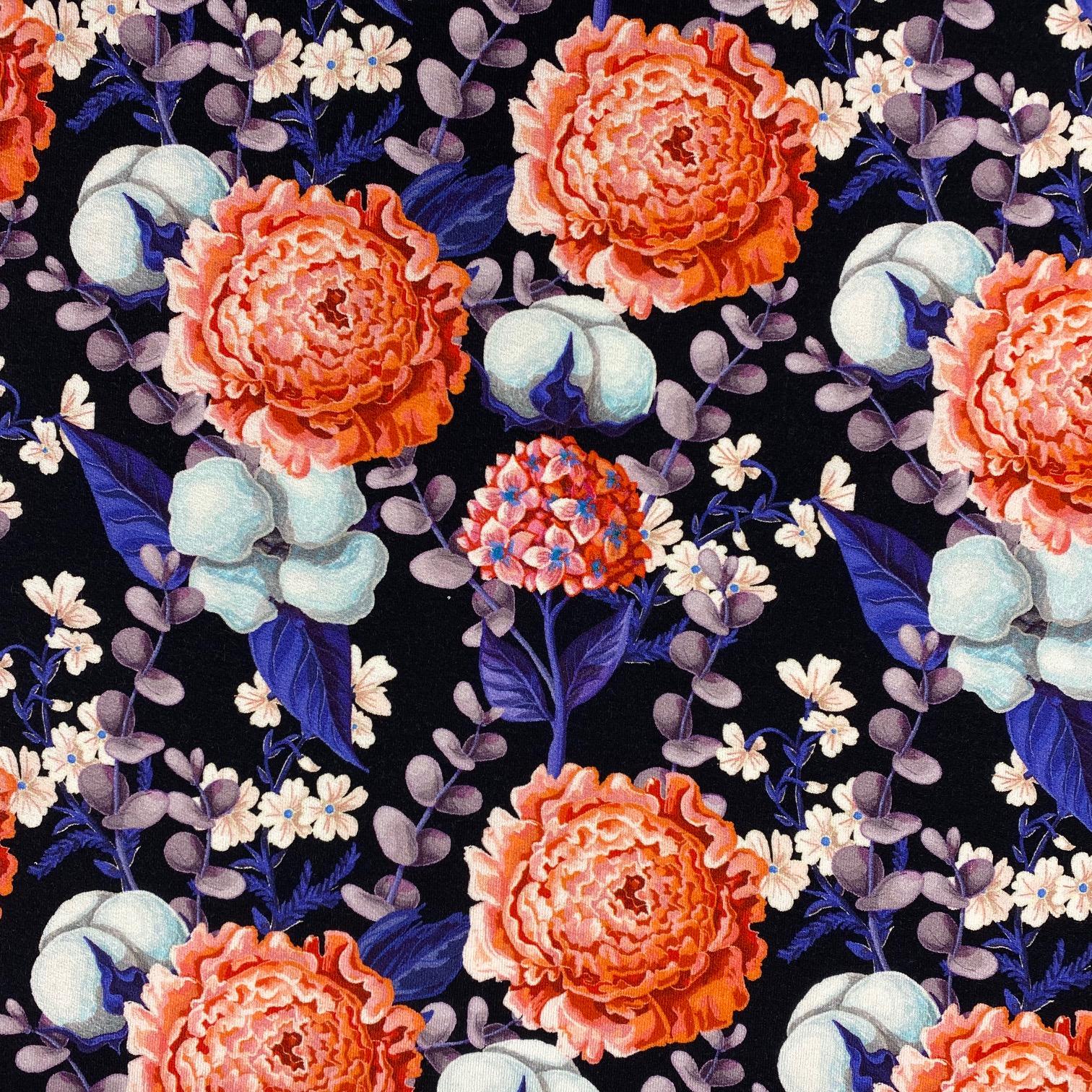 Viskosenjersey Crepe von FVJ, Blumen. Art. FVJ-2356