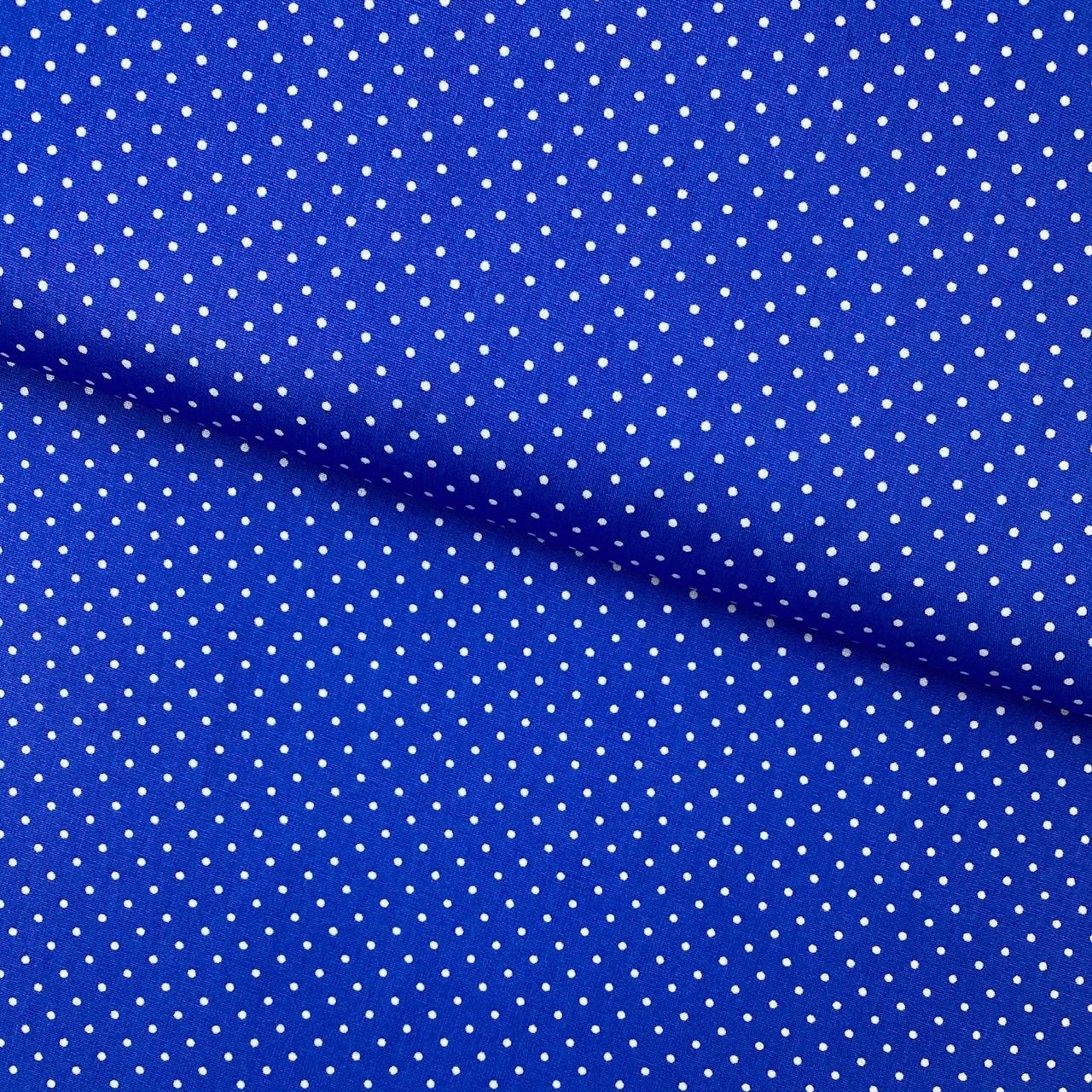 Baumwollpopeline, Punkte, royalblau. Art. SW11377