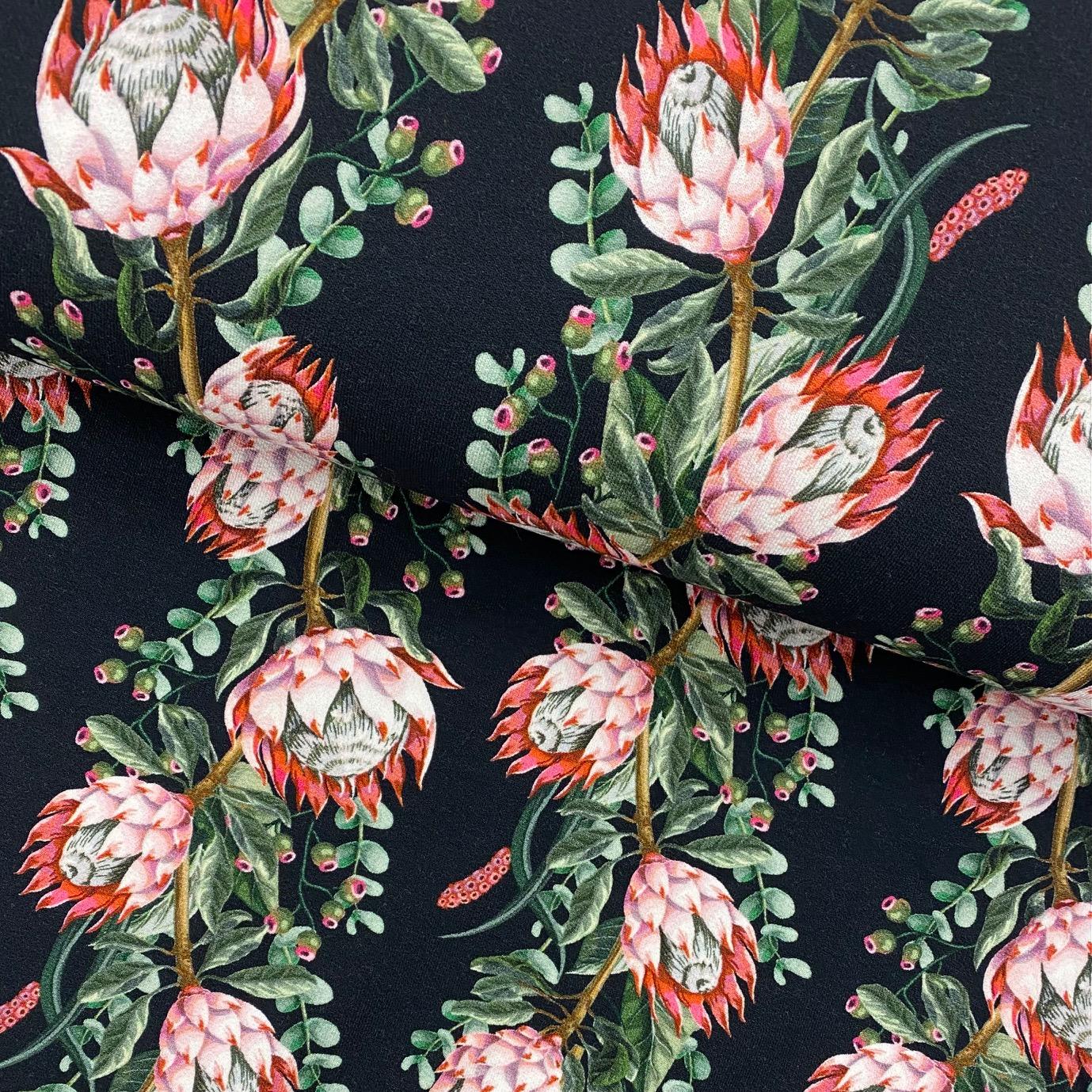 Viskosenjersey Crepe von FVJ, Blumen. Art. FVJ-2338