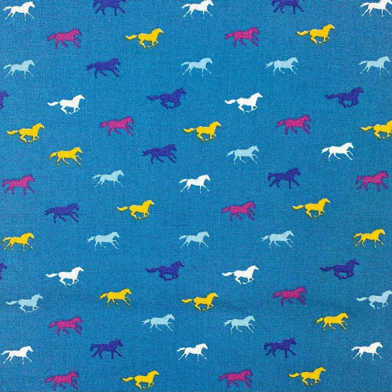 Baumwollpopelin, Pferde, petrol. Art. SW11393