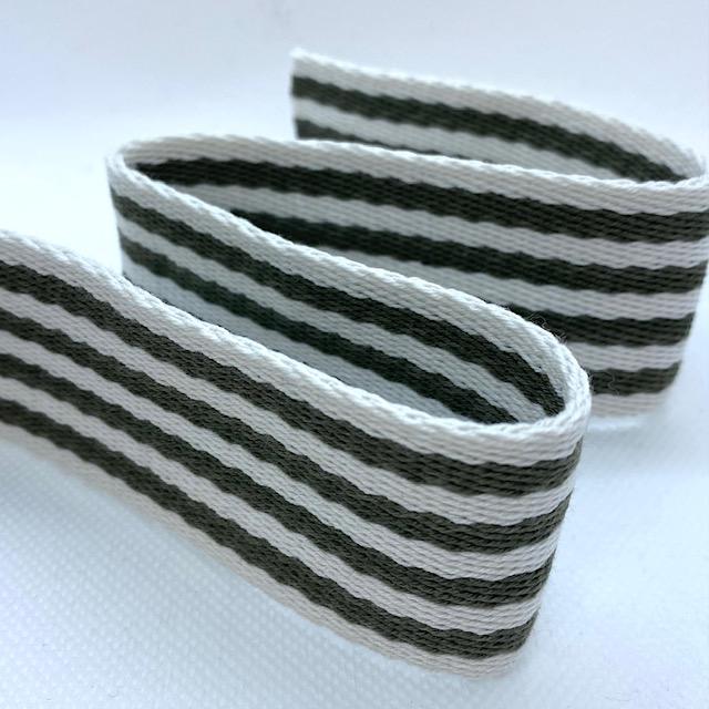 Baumwollgurtband 40 mm, Union Knopf, army/weiß gestreift. Art. 027-040
