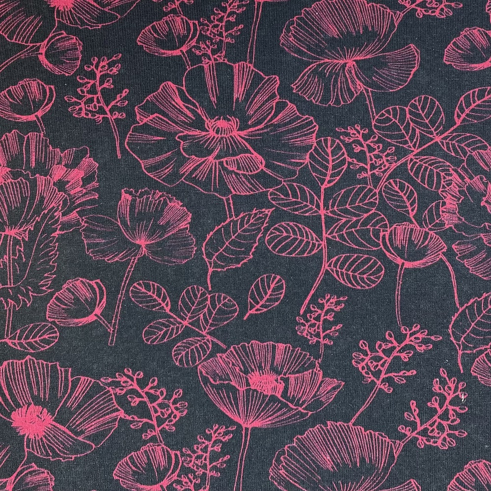 Baumwolljersey, rosarote Blume. Art. 4705/69