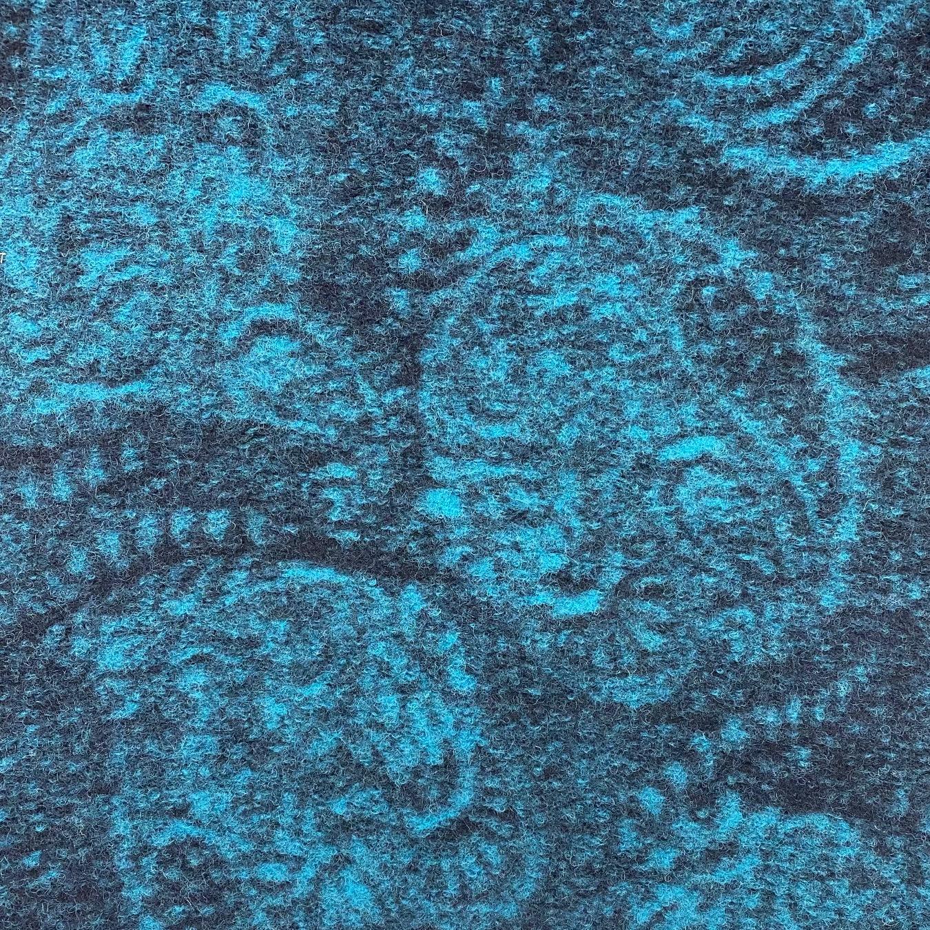 Walkstrick, Wolle gemustert, petrol/grau.  Art. 4721-04