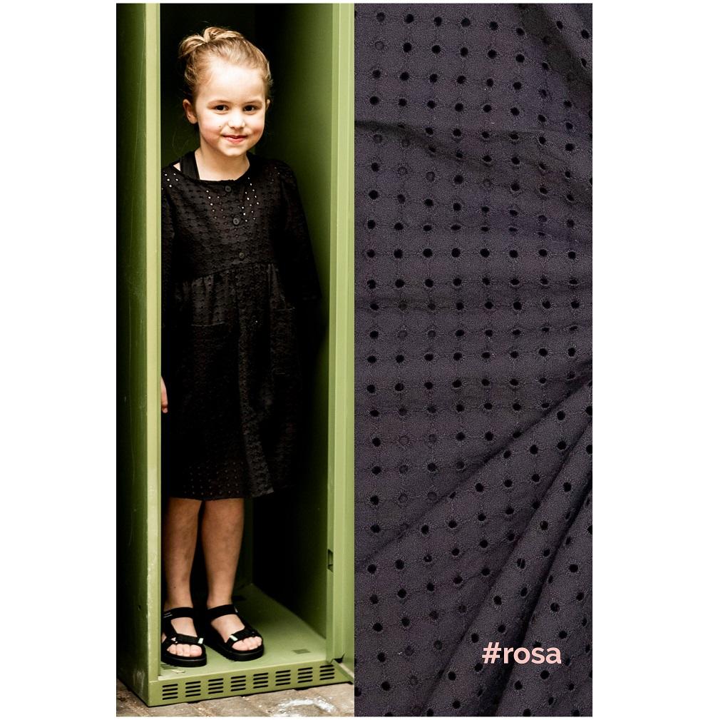 Fibre Mood #Rosa, Baumwolle Stickerei, schwarz. Art. FM310125