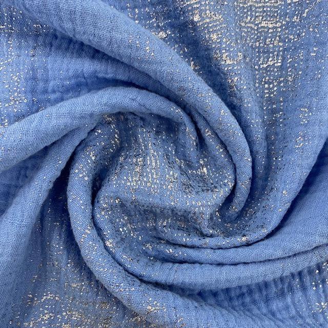 Baumwoll Krinkelmusselin von Rico Design, azur Hot Foil. Art. 209011