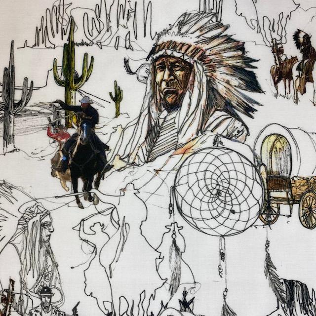Bio-Voile Baumwollstoff von C. Pauli, Cowboy. Art. SW11465